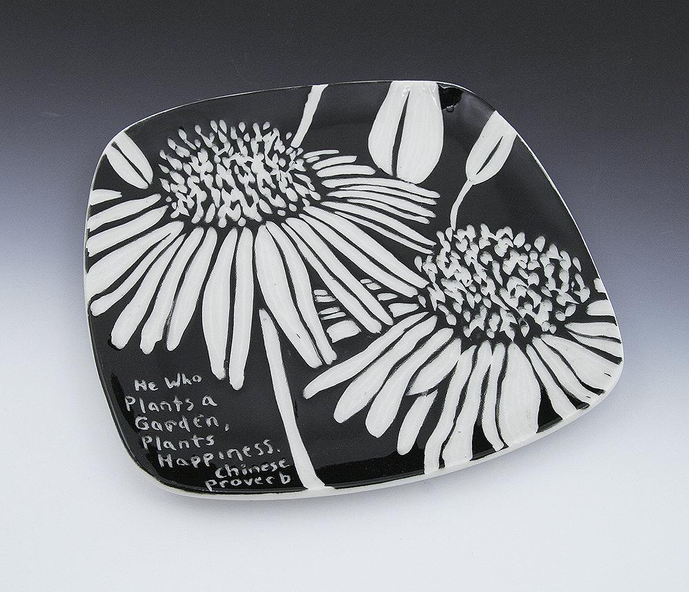 Sgraffito echinacea plate melynn allen for Ceramic based paint
